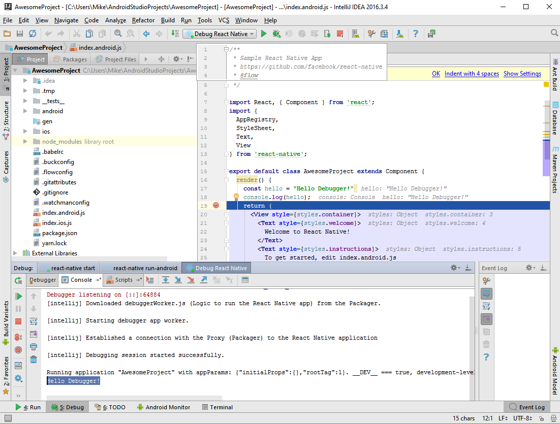 Debugging React Native/Android with IntelliJ on Windows - Mike